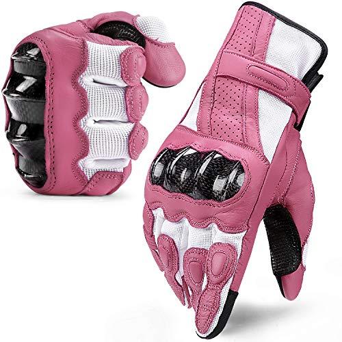 INBIKE Guanti Moto Pelle di Capra Touchscreen Protezione Antiscivolo Sportivo (Rosa,L)