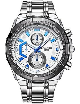 Art und Weise drei dekorative Hilfszifferblätter Armbanduhr für Männer, weißes Zifferblatt leuchtende blaue Hände...