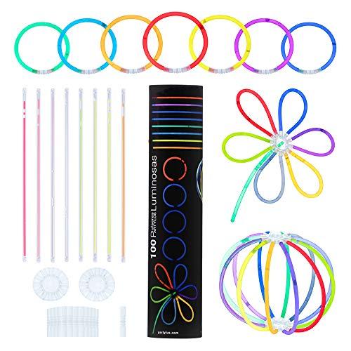 Partylus Pulseras Luminosas para Fiestas en 8 Colores. Pack 100 Varitas Fluorescentes, 100 Conectores Pulsera y 2 Conectores Bola o Flor. Ideal en Bodas, Conciertos y Cumpleaños para Niños y Adultos