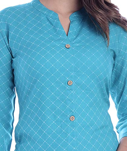 Chokhi Bandhni Women's Rayon Printed Kurta With Palazzo Dupatta Set (Turquoise)
