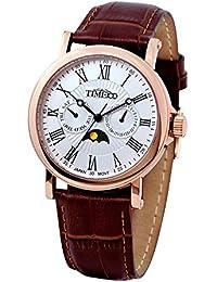 Time100 - Montre quartz Sportive Bracelet cuir véritable Phase du soleil et Dateur Homme Or Rose - W80035G.03A