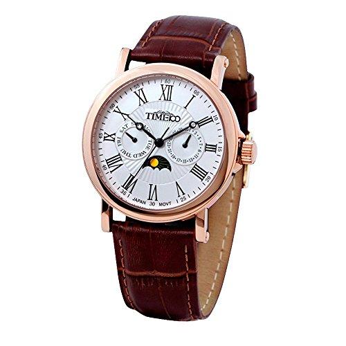 Time-W80035G03A-Reloj-para-hombres-correa-de-cuero-color-marrn