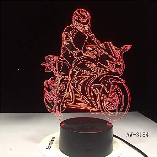 Stereo Licht Motorradfahrer Modell 3D Luminous Illusion Led Lampe Bunte Touch Nachtlicht Blitzbeleuchtung Glow In The Dark Motor Spielzeug Aw-3184 Acryl Lampe (Glow In The Dark-licht-lampe)