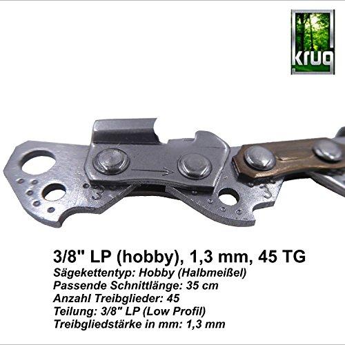 """Sägekette KRUG 30cm [Teilung 3/8\"""" P,LP -Treibgliedstärke 1,3mm -45 Treibglieder] für 30cm Schwert-kompatibel für Dolmar, Echo, Husqvarna und weitere Motorsägen- VIBRATIONSARM+BELASTBAR+HOHE SCHNITTLEISTUNG -(Ausführung: Low-Profil, Hobby, Halbmeißel)- Professionelle KRUG Ersatzkette 3/8\""""-1,3mm-45"""