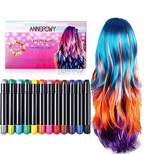 Hair Chalk for Kids Girls Face Paint Temporary Hair Chalks Colour Set for Makeup Hair Chalk Pens Birthday Gifts for Girls Boys Washable Hair Dye for Blonde Brown Auburn Dark Hair Color