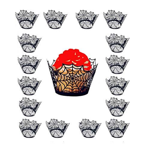 Amosfun 24 stücke aushöhlen Halloween kuchenverpackungen Spinnennetz Form Liner backen Kuchen pappbecher Wraps für Hochzeit Geburtstag Party Dekoration (schwarz)