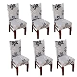 Inroy Elastic Chair Slipcovers Stretch Removable Soft Spandex with Printed Pattern Dining Room Chair Cover (6, D)