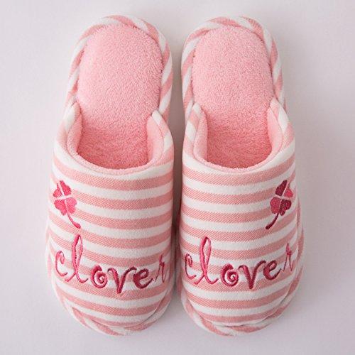 DogHaccd pantofole,Paio di pantofole di cotone femmina di fondo spesso inverno pantofole di peluche inverno pavimento coperto home caldo maschio pantofole Rosa