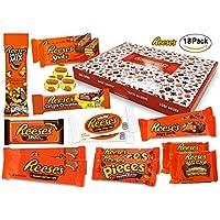 Reeses - Sweet Box - XXL Cesta de regalo | 18 dulces estadounidenses diferentes | Tazas de mantequilla de maní en leche entera y chocolate blanco | USA Reese Sticks, Nut Bar, Piezas, Big Cup, etc.