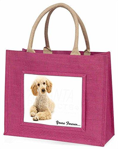 Advanta apricot Pudel, Yours Forever. Große Einkaufstasche Weihnachten Geschenk Idee, Jute, Rosa, 42x 34,5x 2cm -
