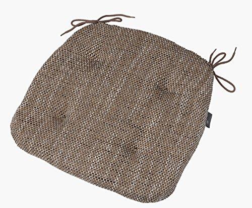 Robustes Stuhlkissen 41x42x4 cm, Sitzauflage, Polster Sitzkissen Tweed Hugo, Farbe wählbar (Braun) - Tweed-band