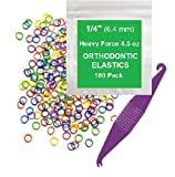 """1/4"""" inch Orthodontic Elastic Rubber Bands, 100 Pack, Neon, Heavy Force 4.5 oz, Small Rubberbands for making bows, Dreadlocks, Dreads, Doll Hair, Braids, Horse Mane, Horse Tail, Fix Tooth Gap in teeth, Top Knots + FREE Elastic Placer for braces"""