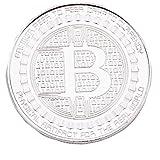 HLHN 1 Pcs überzogene Bitcoin Münze Sammler Geschenk BTC Münze Kunst Sammlung physikalische (Silver)