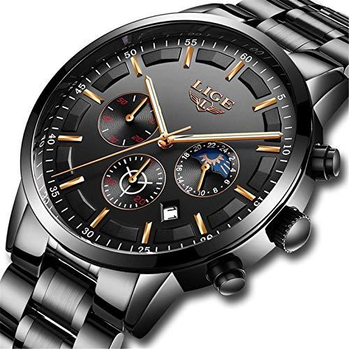 0d0ca65cd870 LIGE Relojes Hombre Impermeable Deporte Cuarzo Analógico Reloj Hombre Moda  Casual Cronógrafo Negro Acero Inoxidable Reloj