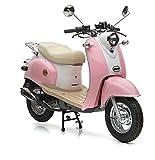 Motorroller Nova Motors Retro Star 50 rosa-weiß - 45km/h