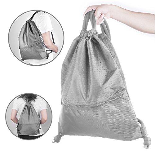 (PolySky Premium Beutel Tasche Sack Gym Drawstring Bag Turnbeutel Rucksack Sportbeutel Jutebeutel Wasserdichte Gymnastikbeutel Schuhbeutel Sporttasche mit Kordel Sackpack Wandertasche Schultertaschen (Grau))