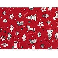 Tela de Navidad, con motivos navideños, algodón, cereza, ...