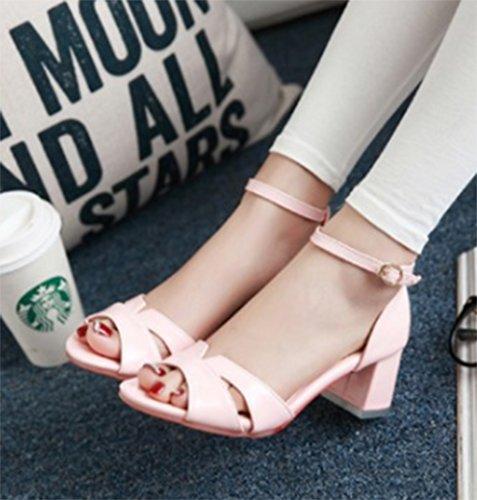 Aisun Damen Süß Cut-Out Lackleder Toe Open Blockabsatz Schnalle Sandalen Pink
