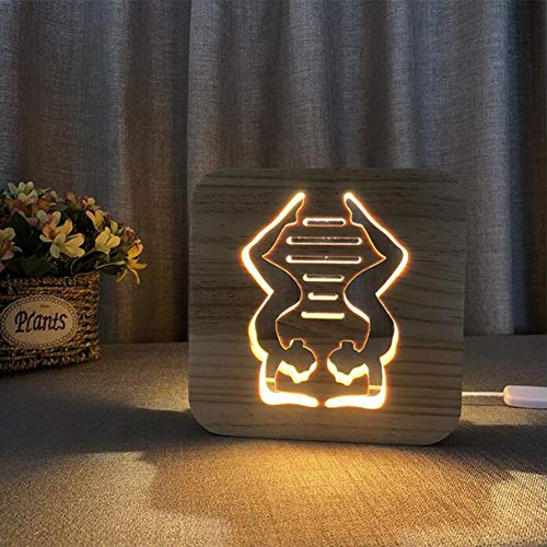 3d optical illusion led lampada da tavolo luce creativo forma di yoga stereo scultura arte del legno/luce di alimentazione usb +cambia linea dati