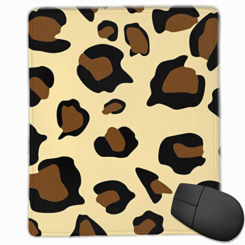 Leopard Print Rectangle Non-Slip Rubber Mouse Pad with Stitched Edges -
