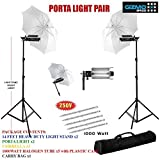 #5: World of Needs Pair Porta Umbrella Video Light for Still Video Photography Portable Studio Kit with Free 5 X 1000 Watt Halogen Tubes, Heavy Duty 14 Feet Height Light Stand