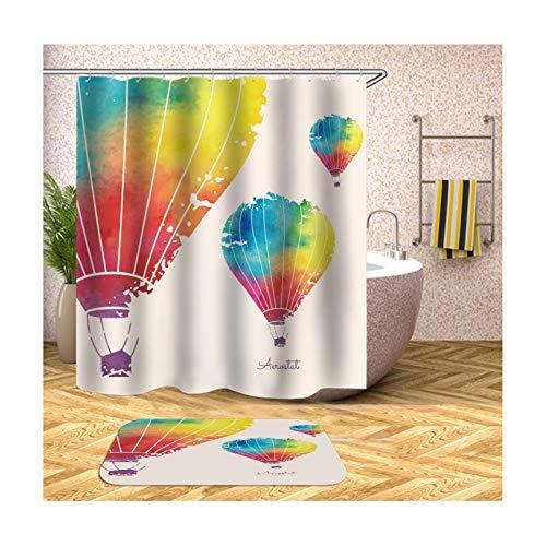 Fußmattensatz Polyester Ballon Wasserdicht Rot und Weiß Duschvorhang 150X200Cm Plus Bodenmatte 40X60CM ()
