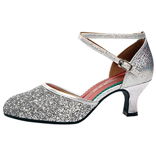 Oasap Women's Sequins Ankle Cross Strappy Latin Dance Shoes silver