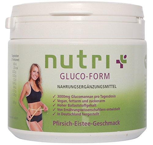 *Appetitzügler – Appetithemmer – Glucomannan-Drink zum Abnehmen – sensationell lecker – 270g – 90 Portionen – Pfirsich-Eistee – Nutri-Plus Gluco Form*