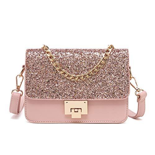 SOOHAO Umhängetasche Damen Handtasche Klein Damentaschen Leder Schultertasche lässig Henkeltaschen Mit Glitzer Rosa