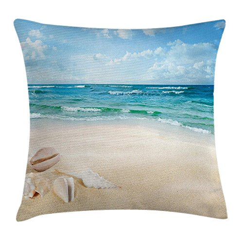 Trsdshorts Ocean Decor Throw Pillow Cushion Cover by, Beach Sand Waves Sealife Marine Decor with Shels Hot Summer Sun Print, Decorative Square Accent Pillow Case, 18 X 18 Inches, Teal Blue Cream -