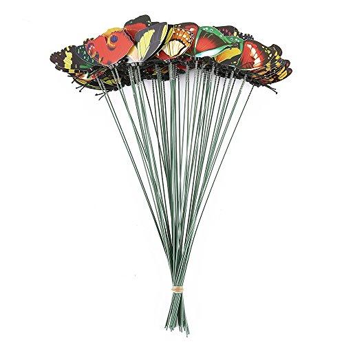Gartenstecker Gartendeko Gartenfigur zum Stecken Deko Set 50 Stück Schmetterling 25cm lang aus Kunststoff, Schmetterling