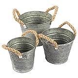 3-Satz Vintage verzinktem Übertopf Eimer–Garten Eimer mit Seil Griffe, verzinktem Metall, die Sie, ideal für Pflanzen, Deko, Aufbewahrung, Grau, 3Größen.