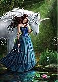5D Diamond Painting Kit Bricolage en strass Broderie en croix Pleine foret Art Artisanat pour décoration murale à la maison 11,8 * 15,7 pouces (30 * 40 cm) Unicorn Blue Skirt Girl