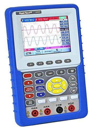 """PeakTech 1205 – 2-Kanal Speicher-Oszilloskop (20MHz) & True RMS Multimeter (4000 Counts) mit USB-Schnittstelle & 3,8"""" Farbdisplay, DSO, Digitales Speicher Hand-Oszilloskop inkl. Koffer mit Zubehör"""