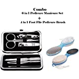 Kalaram Combo Of 6 In 1 Pedicure Manicure Kit Set And 4 In 1 Foot File With Pedicure Brush (Color Assorted)