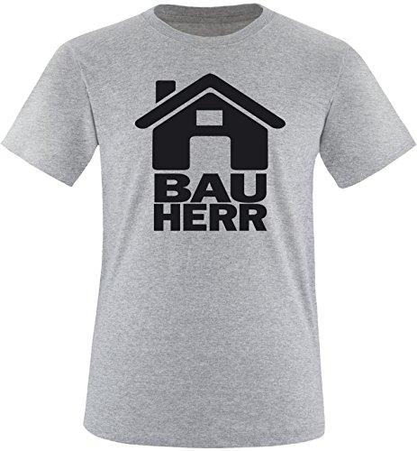 Luckja Bauherr Herren Rundhals T-Shirt Grau/Schwarz