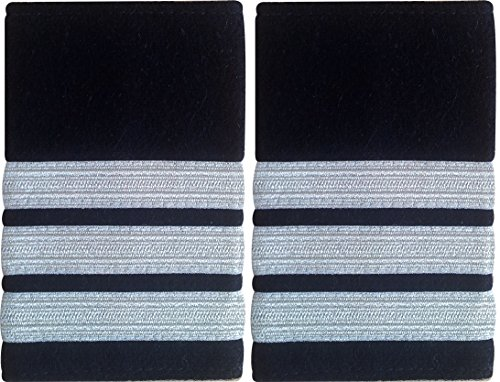 Schulterklappe, 3 weiße Streifen auf Schwarz, für Piloten, Marine, 1 Paar Marine-pilot