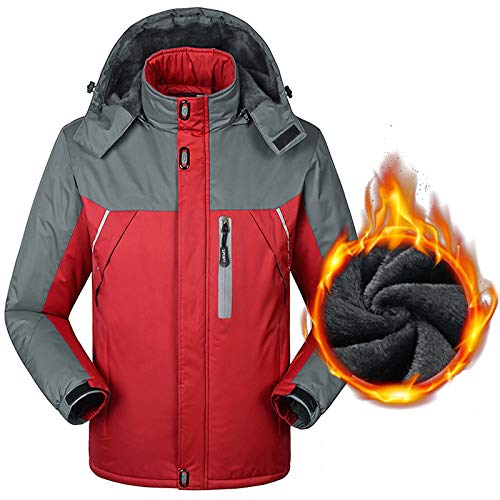 Liabb Winter-Männer Warme Jacke Ski Eislauf-Jacke wasserdichte Fleecejacke im Freien wandernden Jacke Bergwasserdichte Kleidung,Rot,XL
