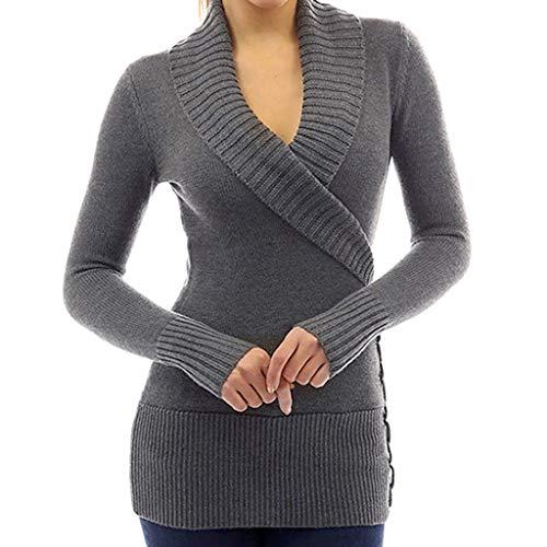 ZEZKT Oberteile Women Wrap Front Cross V Neck Long Sleeve Jumper Pullover Tops Knit Sweater Damen Kalte Schulter Stricken Sweatshirt Damen Frauen Elegant -