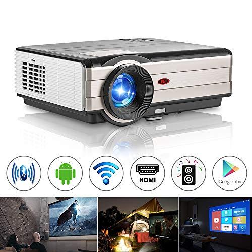 Proyector WiFi casero HD con Bluetooth Android6 0 Compatible con HDMI  Airplay Conectividad inalámbrica para iPhone iPad, 4000Lumen LED Proyector  de