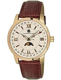 Constantin Durmont Calendar Fase of Moon - Reloj de pulsera de piel para hombre, analógico de cuarzo piel