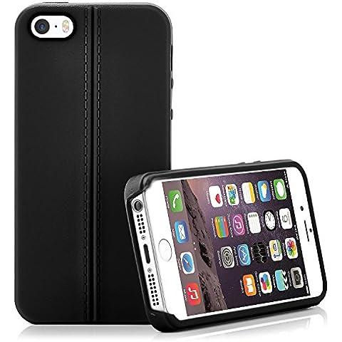 Caja del teléfono de alta calidad para iPhone 5 / 5S / SE | Funda de silicona en el diseño elegante de cuero | Caso celda de protección OneFlow | Backcover en Obsidian