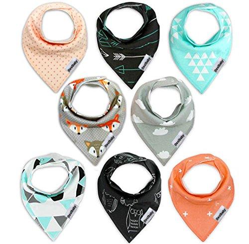 Baby Dreieckstuch Lätzchen Halstuch Spucktuch 8er Pack Lätzchen mit Druckknopf für Baby Jungen und Mädchen Kleinkinder Saugfähig Weich Größenverstellbar