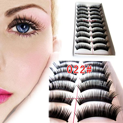 M-Queen 10 Paires Faux Cils Noir Epais Eye Lashes Long Yeux Colle Cosmetique