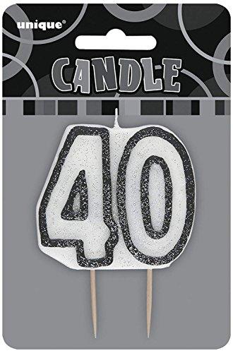 Unique Party Vela de 40 cumpleaños, Color Negro Brillante (34424)