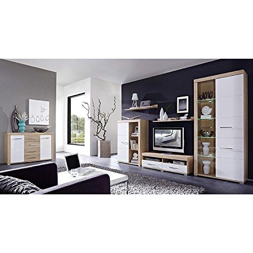 Wohnwand & Sideboard Set DRIVEPLUS258 Hochglanz weiß, Sonoma Eiche
