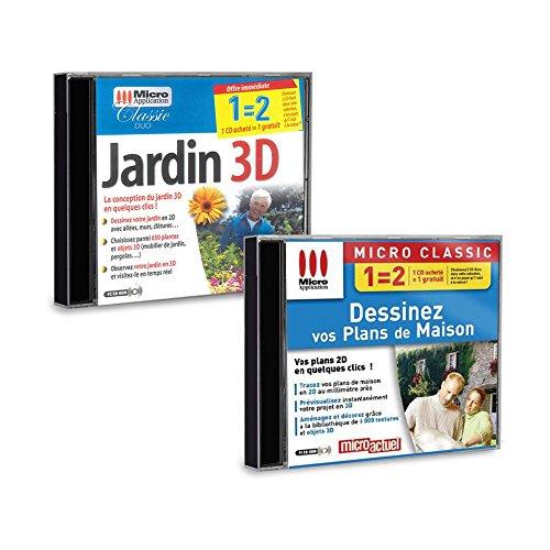 Pack 2 logiciels Jardin 3D et Dessinez vos Plans de maison - PC