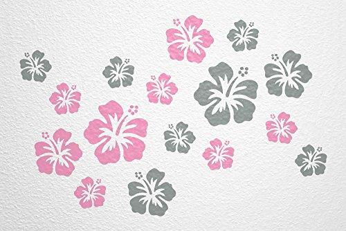 WANDfee Wandtattoo 16 Hibiskus Blüten AC1111920 Größe Ø 7 15 Cm, 2 X Ø 15  Cm, 4 X Ø 11 Cm, 10 X Ø 7 Cm Farbe Rosa Grau