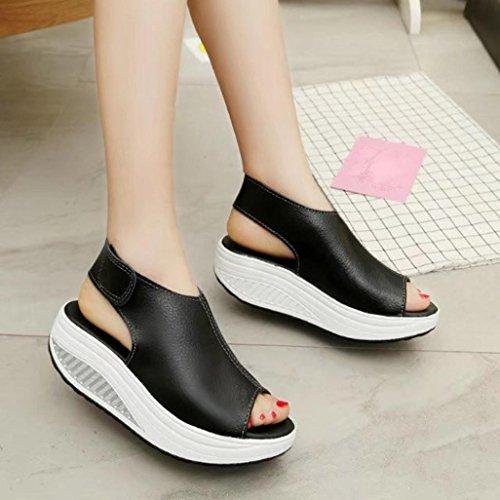 Plateau mit Schuhe Mode Frauen schütteln Schuhe Sommer Sandalen dicken unteren Schwarz