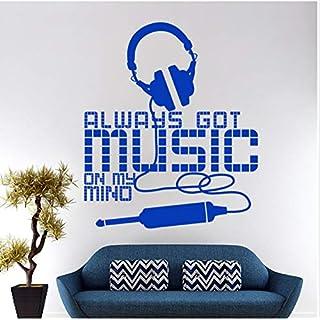 Design Allways Got Music On My Mind Wall Sticker Home Decor Headset Wall Decal Removable House Decoration Earphone Decal 58Cmx69Cm,B